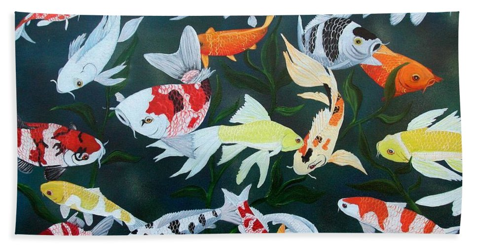 Fish Bath Sheet featuring the painting Colorful Koi by Debbie LaFrance