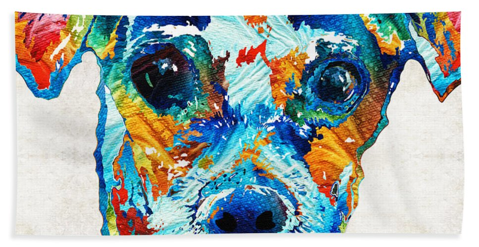 Dog Hand Towel featuring the painting Colorful Little Dog Pop Art By Sharon Cummings by Sharon Cummings