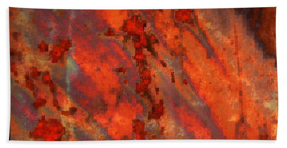 Colorful Abstract Bath Sheet featuring the photograph Colorful Metal Abstract With Border by Carol Groenen