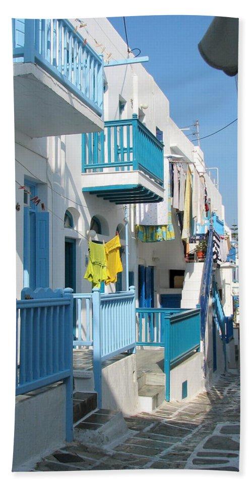 Mykonos Bath Sheet featuring the photograph Colorful Mykonos by Carla Parris