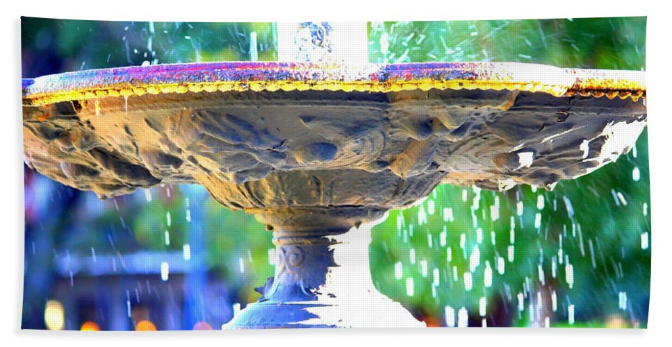 New Orleans Bath Sheet featuring the photograph Colorful New Orleans Fountain by Carol Groenen