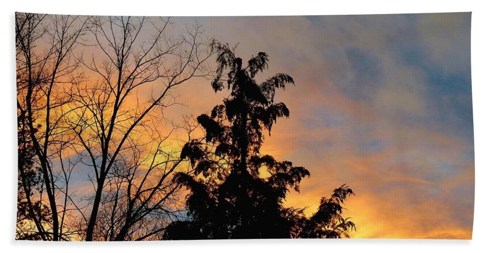 Sunset Hand Towel featuring the photograph Colorful Nightfall by Will Borden