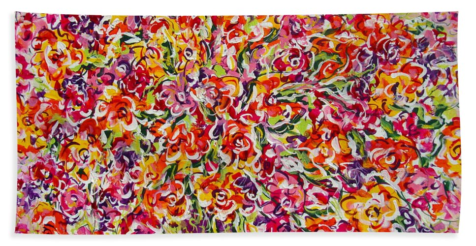 Framed Prints Bath Sheet featuring the painting Colorful Organza by Natalie Holland