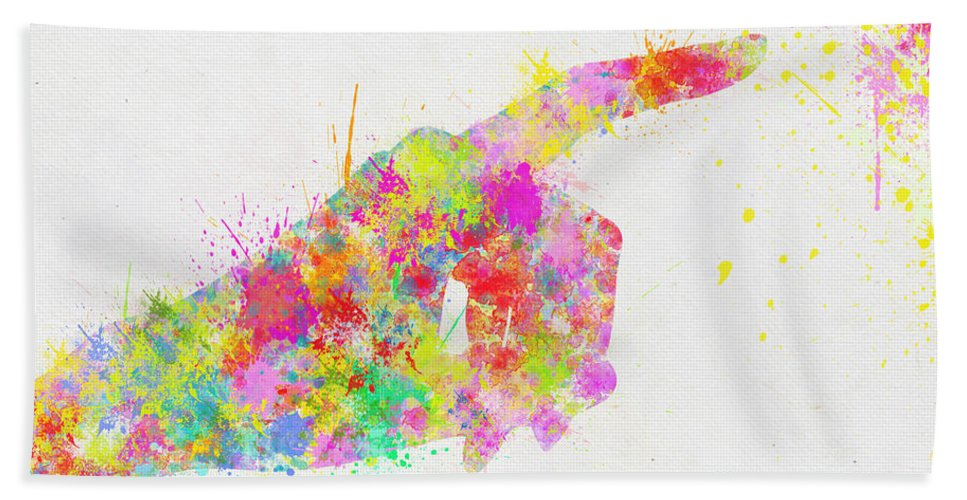 Arm Bath Towel featuring the painting Colorful Painting Of Hand Pointing Finger by Setsiri Silapasuwanchai