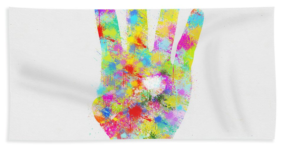 Arm Bath Sheet featuring the painting Colorful Painting Of Hand Pointing Four Finger by Setsiri Silapasuwanchai
