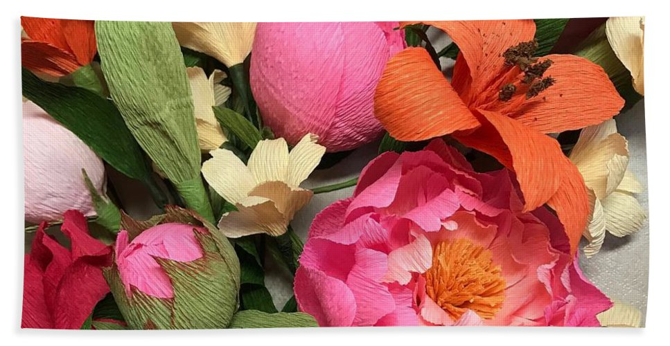 Flowers Bath Sheet featuring the mixed media Colorful Paper Flower Blossoms by The Painted Petaler