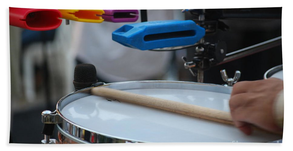 Music Hand Towel featuring the photograph Colorful Percussion by Heather Kirk