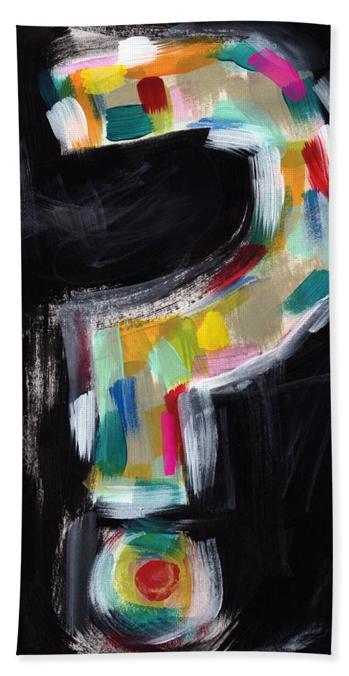Question Mark Bath Sheet featuring the painting Colorful Questions- Abstract Painting by Linda Woods
