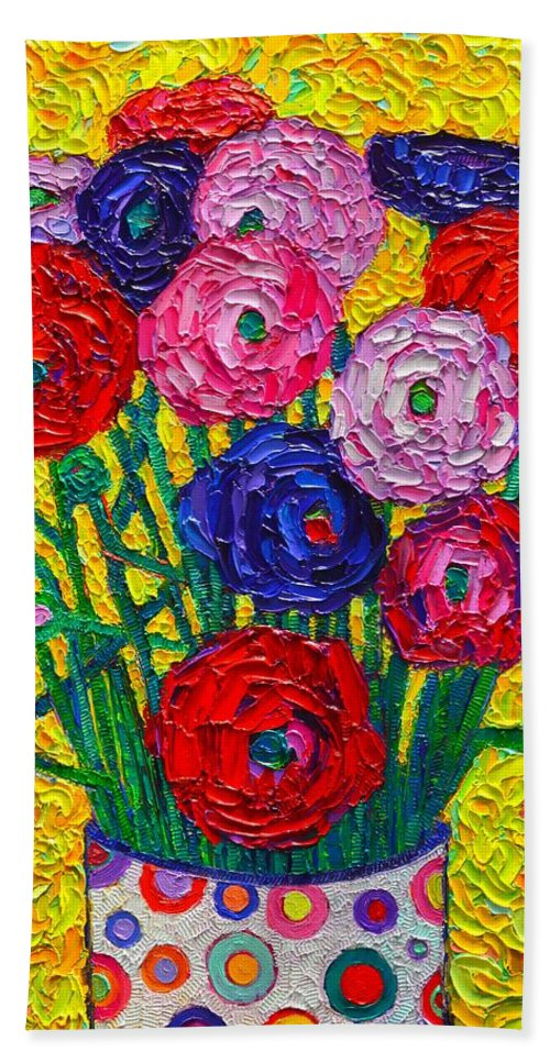 Ranunculus Hand Towel featuring the painting Colorful Ranunculus Flowers In Polka Dots Vase Palette Knife Oil Painting By Ana Maria Edulescu by Ana Maria Edulescu