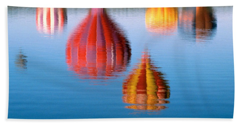Hot Air Balloons Bath Sheet featuring the photograph Colorful Reflections by Jerry McElroy