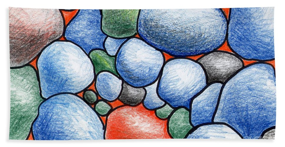 Rocks Hand Towel featuring the drawing Colorful Rock Abstract by Nancy Mueller