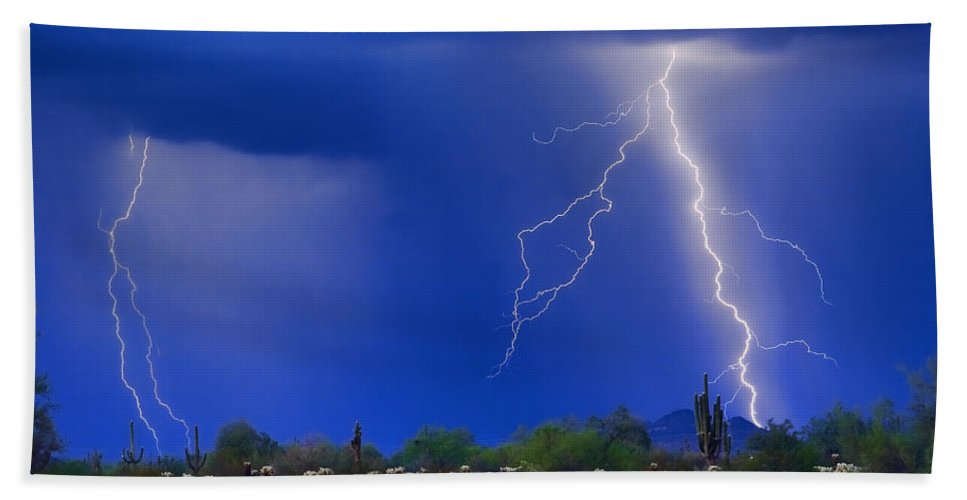 Arizona; Az; Desert; Cactus; Saguaro; Blue; Purple; Lightning; Lightening; Chasers; Lightning Poster; Lightning Photography; Lightning Gallery; Picture Of Lightning; Lightning Storm Pictures; Pictures Of Storm Clouds And Lightning; Lightning Art; Bath Sheet featuring the photograph Colorful Sonoran Desert Storm by James BO Insogna