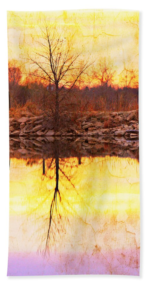 Bouldercountybook; Boulder County; Lake; Nature Photography Fine Art Photography; Textured Print; Landscape Photography; Landscape Art; Sunrise; Reflections; Abstracts; Sunset; Colorful; Cracks; Photo Galleries; Canvas Prints; Stock Photo; Photo Prin Bath Sheet featuring the photograph Colorful Sunrise Textured Reflections by James BO Insogna