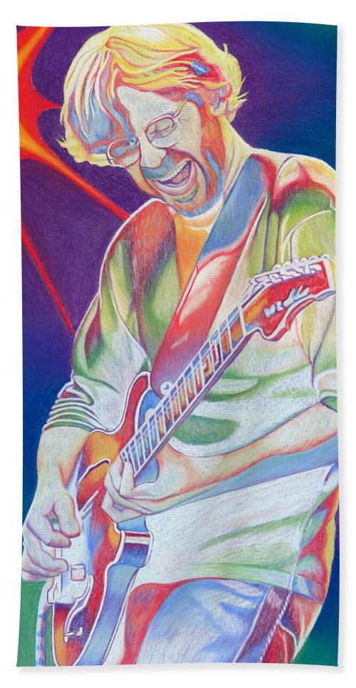 Phish Bath Towel featuring the drawing Colorful Trey Anastasio by Joshua Morton