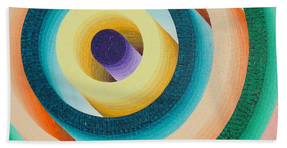 Oil Hand Towel featuring the painting Colorful Tunnel by Peter Antos
