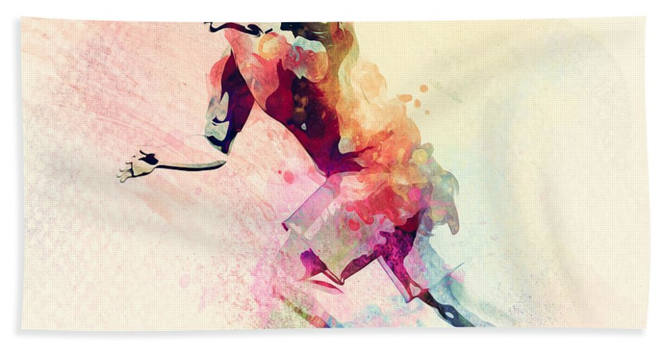 Colorful Watercolor Painting Of Man Running. Abstract