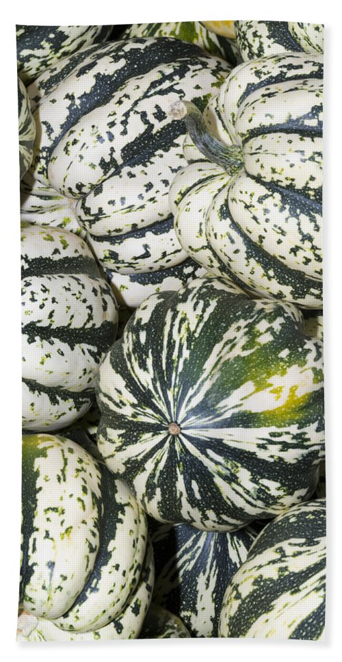 Agriculture Hand Towel featuring the photograph Colorful Winter Acorn Squash On Display by John Trax