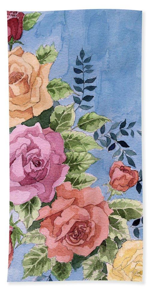 Roses Hand Towel featuring the painting Colorfull Roses by Alban Dizdari