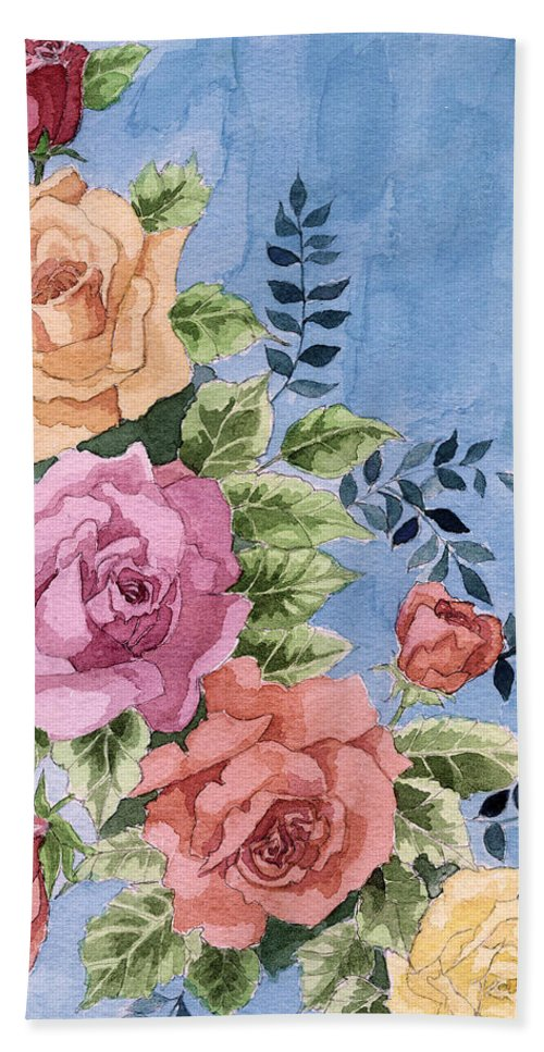 Roses Bath Towel featuring the painting Colorfull Roses by Alban Dizdari