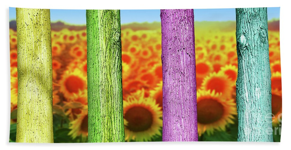 Background Bath Sheet featuring the photograph Colorfull Tree Trunks In Thefield. Abstract Psychedelic Colors by Aleksandar Ilic