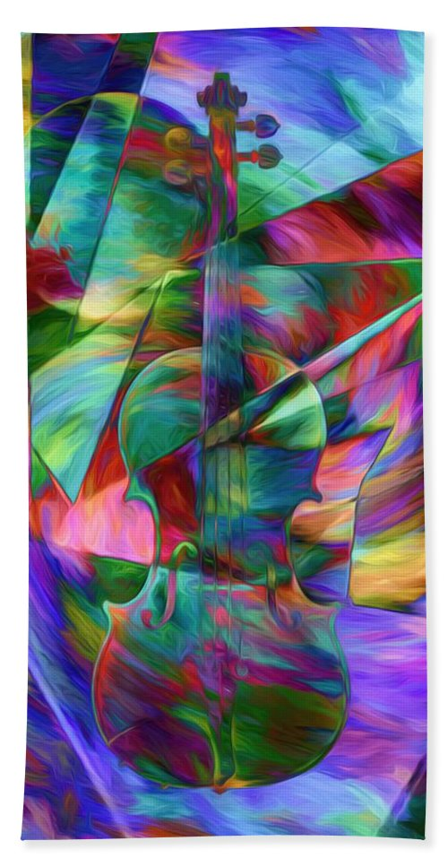Colors And Geometries For A Violin Hand Towel featuring the photograph Colors And Geometries For A Violin by Daniel Arrhakis