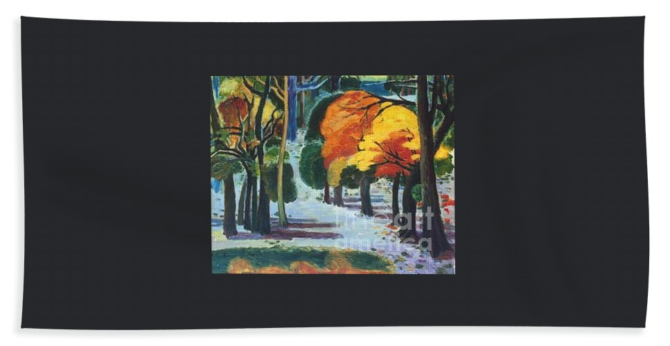 Colors Hand Towel featuring the painting Colors Of Fall by Meihua Lu