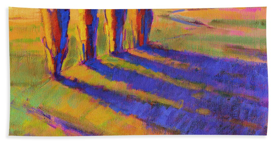 Landscape Bath Sheet featuring the painting Colors Of Summer 5 by Konnie Kim