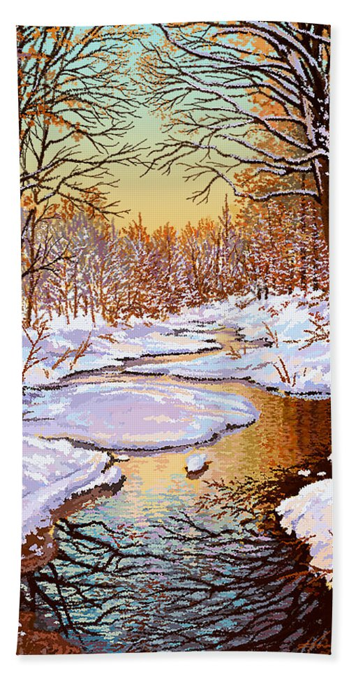 Winter Bath Sheet featuring the painting Colors Of Winter by Hans Neuhart