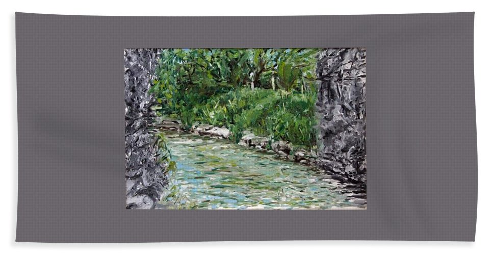 Landscape Hand Towel featuring the painting Colors River by Pablo de Choros