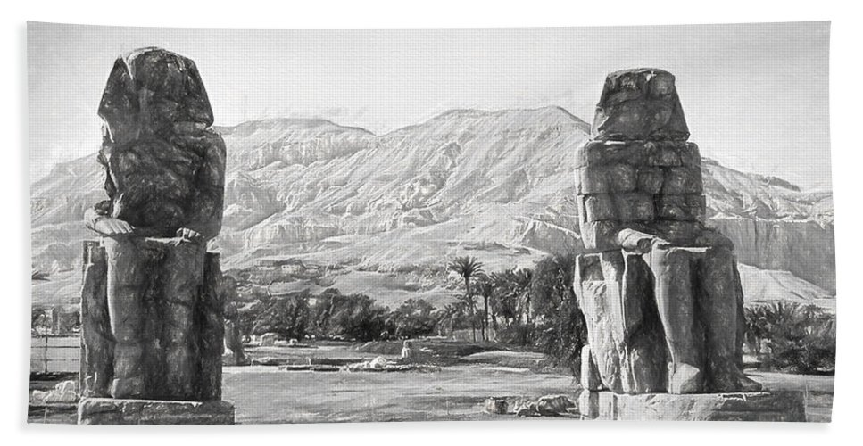 Colossi Of Memnon Hand Towel featuring the digital art Colossi Of Memnon 2 by Roy Pedersen