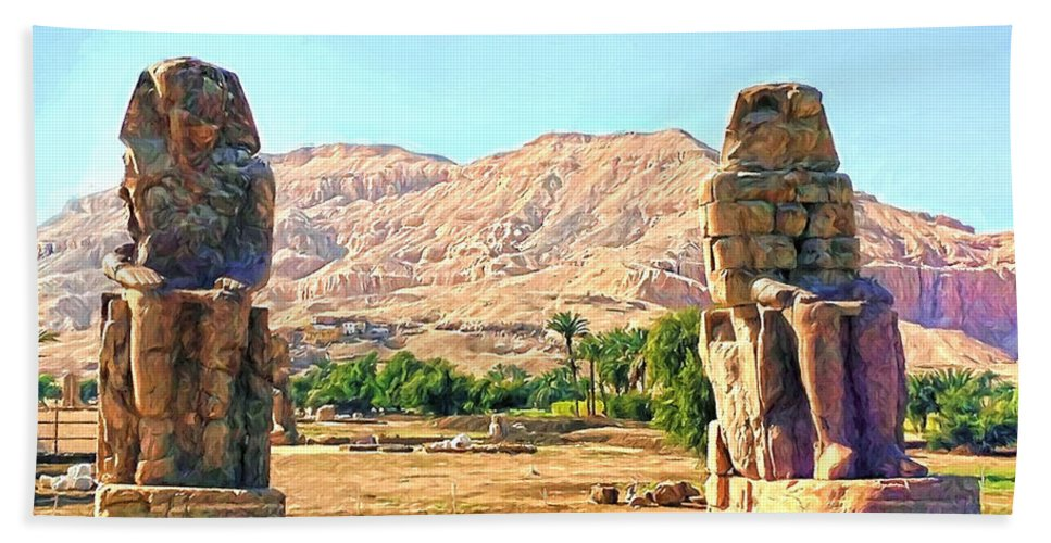 Colossi Of Memnon Hand Towel featuring the digital art Colossi Of Memnon by Roy Pedersen