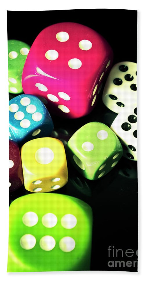 Casino Hand Towel featuring the photograph Colourful Casino Dice by Jorgo Photography - Wall Art Gallery
