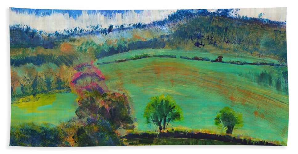 Early Evening Bath Sheet featuring the painting Colourful English Devon Landscape - Early Evening In The Valley by Mike Jory