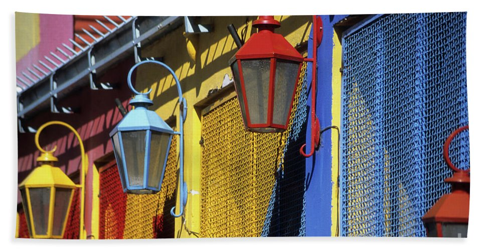 Buenos Aires Bath Towel featuring the photograph Colourful Lamps La Boca Buenos Aires by James Brunker