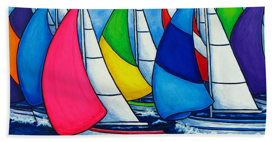 Boats Hand Towel featuring the painting Colourful Regatta by Lisa Lorenz