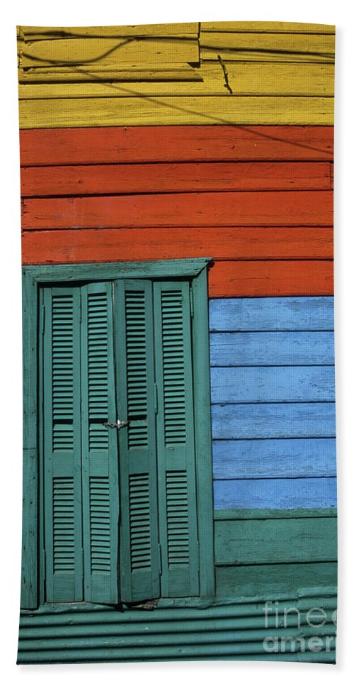 Buenos Aires Bath Sheet featuring the photograph Colourful Shutters La Boca Buenos Aires by James Brunker