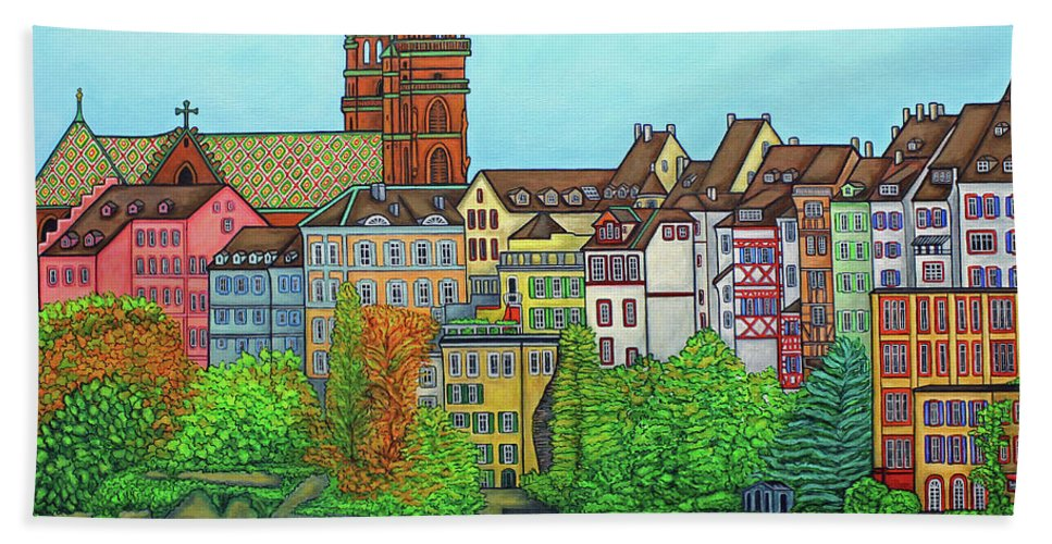 Lisa Lorenz Bath Sheet featuring the painting Basel, Colours of Basel by Lisa Lorenz