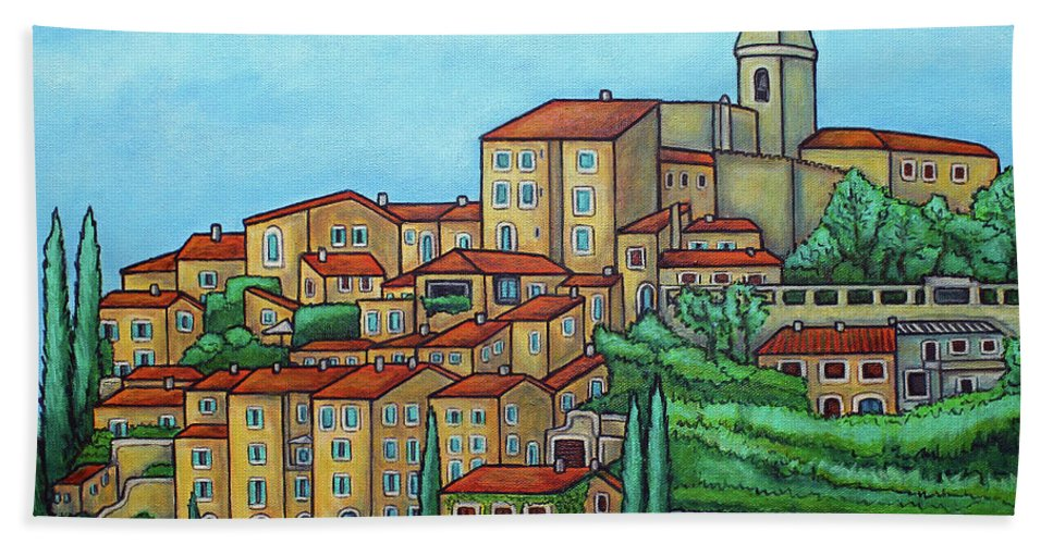 Provence Bath Towel featuring the painting Colours of Crillon-le-Brave, Provence by Lisa Lorenz