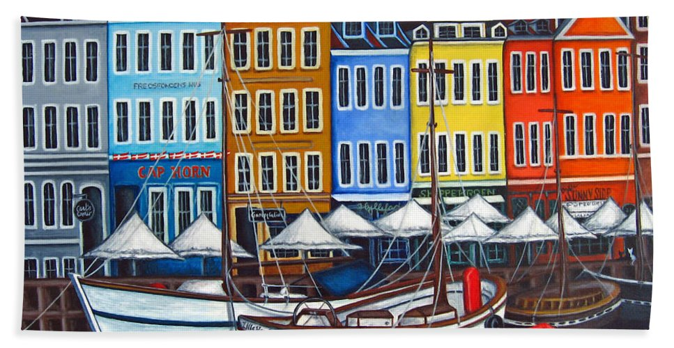 Nyhavn Bath Towel featuring the painting Colours of Nyhavn by Lisa Lorenz