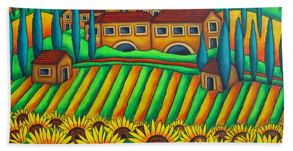 Tuscany Bath Towel featuring the painting Colours Of Tuscany by Lisa Lorenz