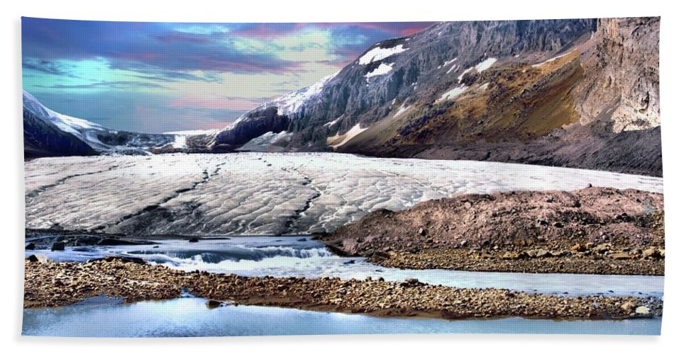 Athabasca Glacier Hand Towel featuring the photograph Columbia Ice Field And Athabaska Glacier by Ken McMullen