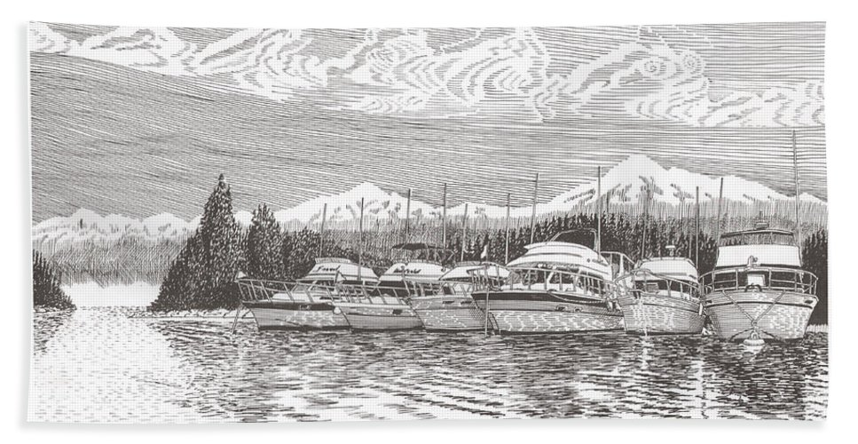 Marine Paintings Marine Art. Canvas Prints Of Boats. Prints Of Boats. Prints Of Waterfront Art. Canvas Prints Of Yachts. Framed Marine Transportation Art Bath Sheet featuring the drawing Columbia River Raft Up by Jack Pumphrey
