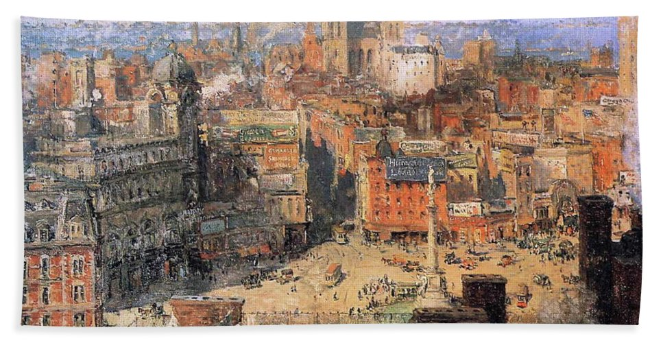 Colin Campbell Cooper () Columbus Circle Bath Sheet featuring the painting Columbus Circle by MotionAge Designs