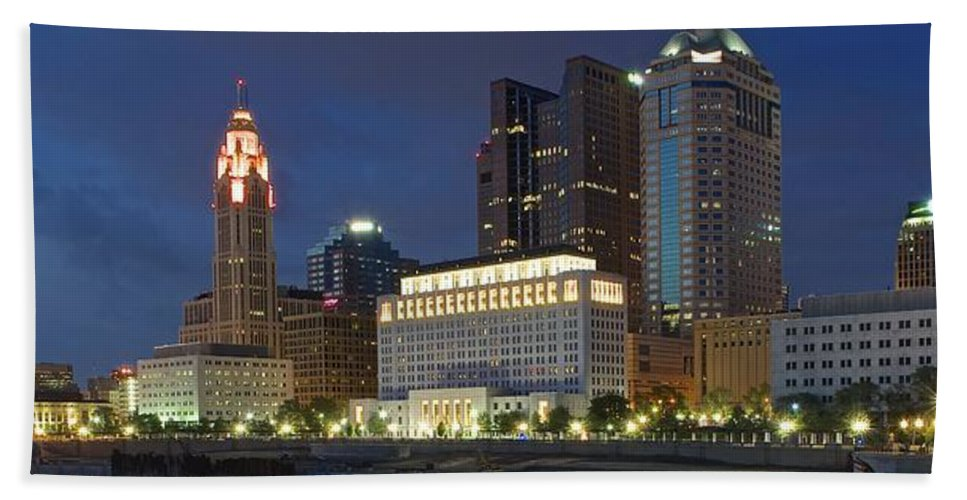 Columbus Bath Sheet featuring the photograph Columbus Night Panorama by Frozen in Time Fine Art Photography