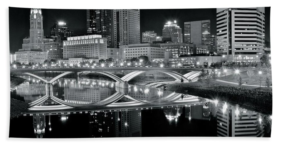 Columbus Hand Towel featuring the photograph Columbus Ohio Black And White by Frozen in Time Fine Art Photography