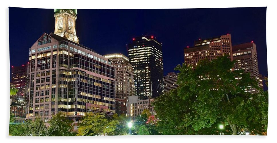 Boston Hand Towel featuring the photograph Columbus Park Boston View by Frozen in Time Fine Art Photography