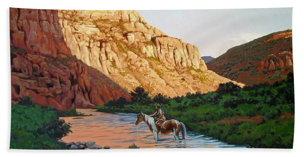 Guadalupe Mountains Hand Towel featuring the painting Comanche Gold by Russell Cushman