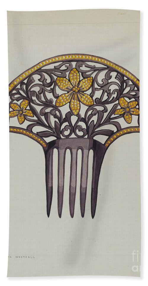 Hand Towel featuring the drawing Comb by Tulita Westfall