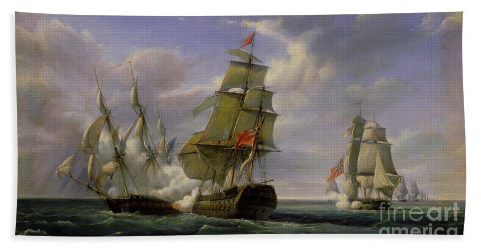 Combat Bath Towel featuring the painting Combat between the French Frigate La Canonniere and the English Vessel The Tremendous by Pierre Julien Gilbert
