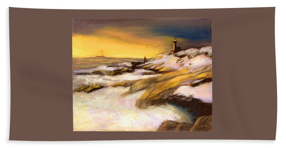 Seascape Hand Towel featuring the painting Come Home by Gail Kirtz